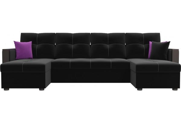 П-образный диван Валенсия Черный (Микровельвет) - фото 2