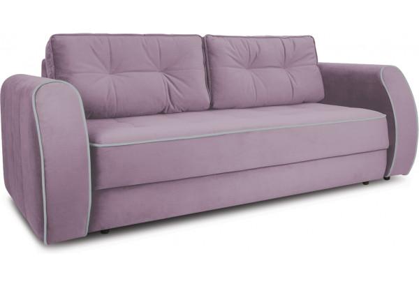 Диван «Хьюго» (Fenix Lilac (микровелюр) Лиловый кант Fenix Silver (микровелюр) Светло - серый) - фото 1