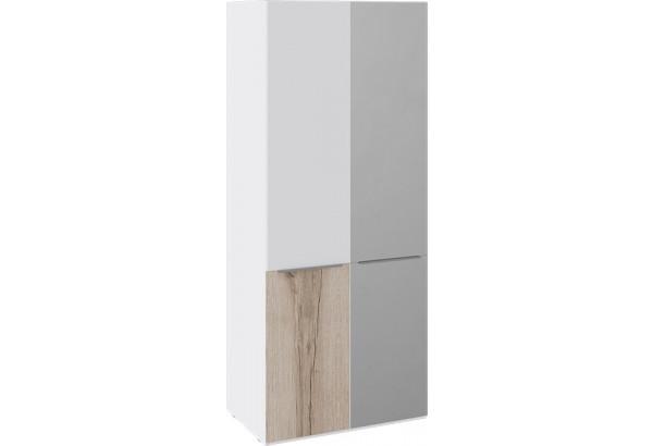 Шкаф для одежды с 1 зеркальной и 1 глухой дверью «Синди» (Белый глянец/Дуб Делано/Белый глянец) - фото 1