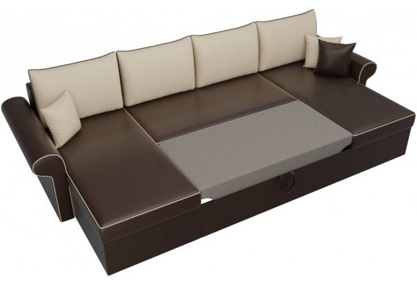П-образный диван Милфорд Коричневый/Бежевый (Экокожа) - фото 6