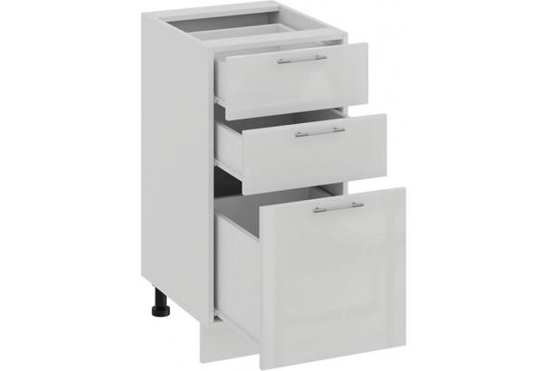 Шкаф напольный с тремя ящиками «Весна» (Белый/Белый глянец) - фото 2