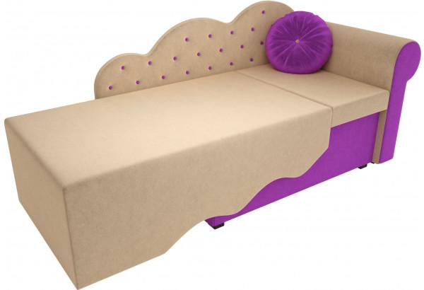 Детская кровать Тедди-1 бежевый/фиолетовый (Микровельвет) - фото 2