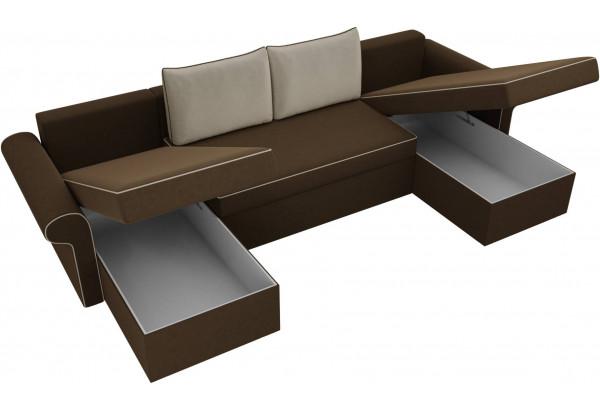 П-образный диван Милфорд Коричневый/Бежевый (Микровельвет) - фото 5