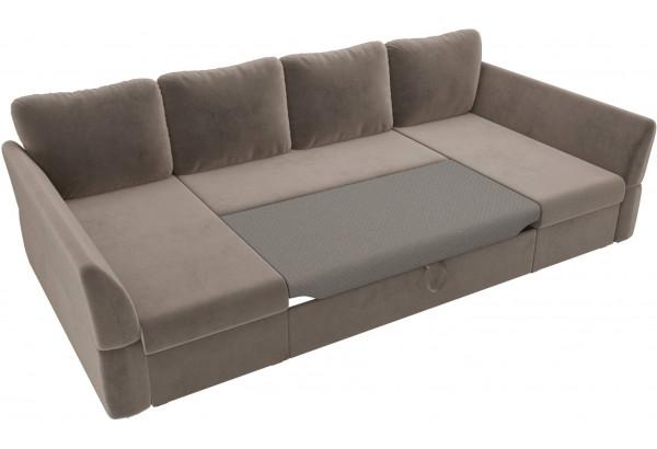П-образный диван Гесен Коричневый (Велюр) - фото 6