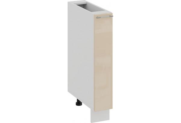 Шкаф напольный с выдвижной корзиной «Весна» (Белый/Ваниль глянец) - фото 1
