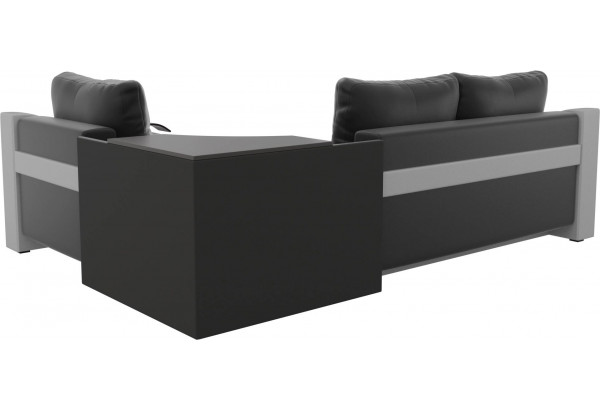 Угловой диван Митчелл Черный/Белый (Экокожа) - фото 5