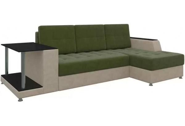 Угловой диван Атланта Зеленый/Бежевый (Микровельвет) - фото 1