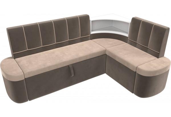 Кухонный угловой диван Тефида бежевый/коричневый (Велюр) - фото 5