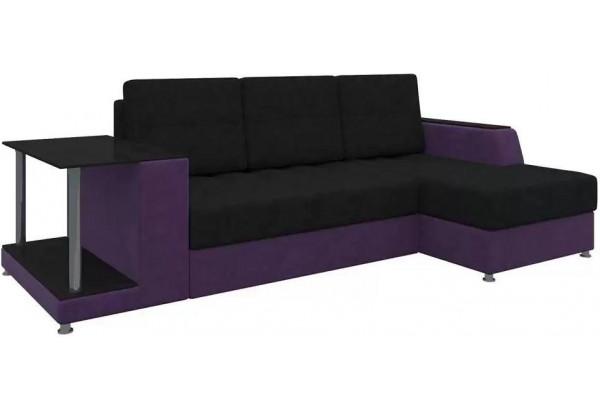 Угловой диван Атланта черный/фиолетовый (Микровельвет) - фото 1