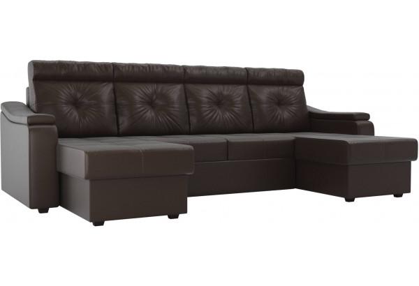 П-образный диван Джастин Коричневый (Экокожа) - фото 1