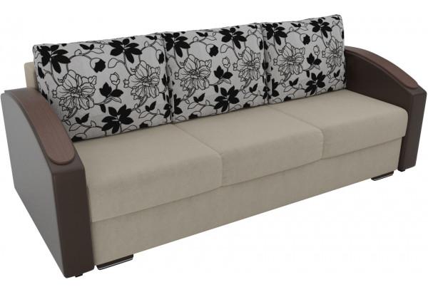 Прямой диван Монако slide бежевый/коричневый (Микровельвет/Экокожа/флок на рогожке) - фото 2