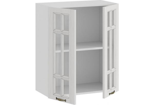Шкаф навесной c двумя дверями со стеклом «Лина» (Белый/Белый) - фото 2