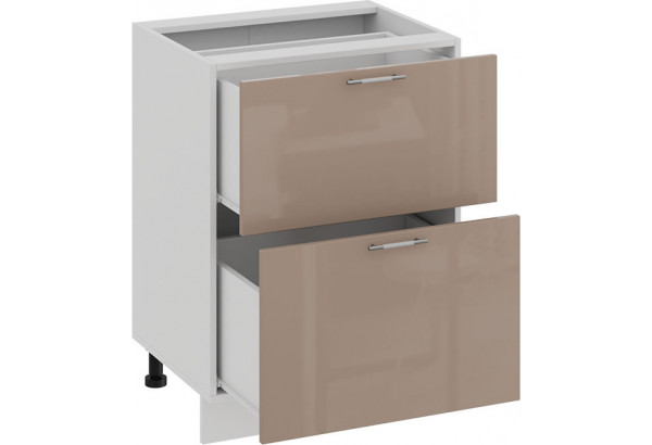 Шкаф напольный с двумя ящиками «Весна» (Белый/Кофе с молоком) - фото 2