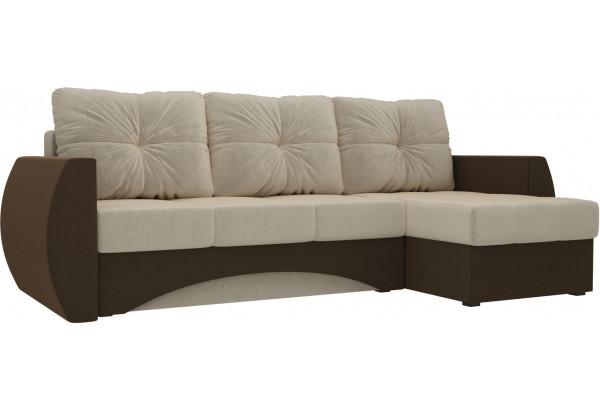 Угловой диван Сатурн бежевый/коричневый (Микровельвет) - фото 1