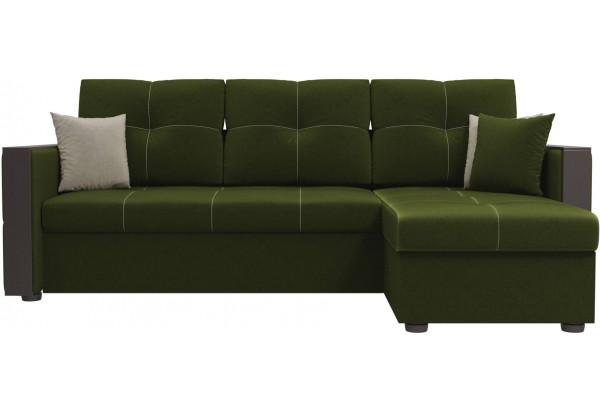 Угловой диван Валенсия Зеленый (Микровельвет) - фото 2