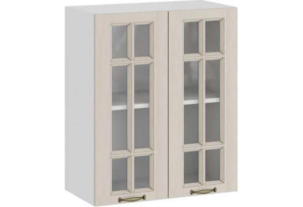 Шкаф навесной c двумя дверями со стеклом «Лина» (Белый/Крем) - фото 1