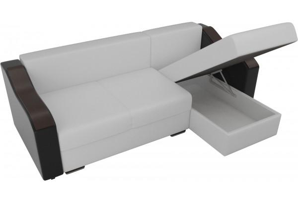 Угловой диван Монако Белый/Черный/Цветы (Экокожа/рогожка) - фото 5