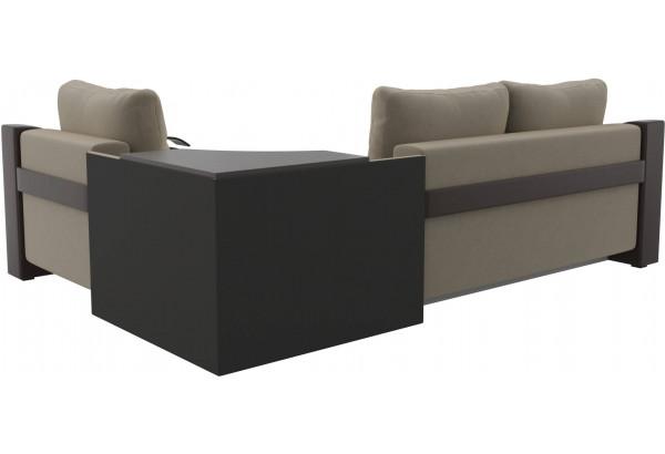 Угловой диван Митчелл бежевый/коричневый (Микровельвет/Экокожа) - фото 5