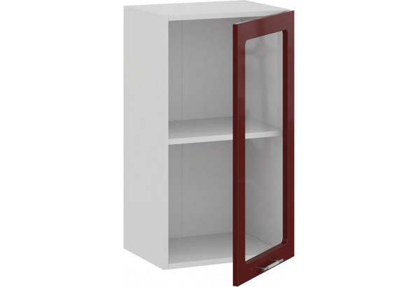 Шкаф навесной c одной дверью со стеклом «Весна» (Белый/Бордо глянец) - фото 2