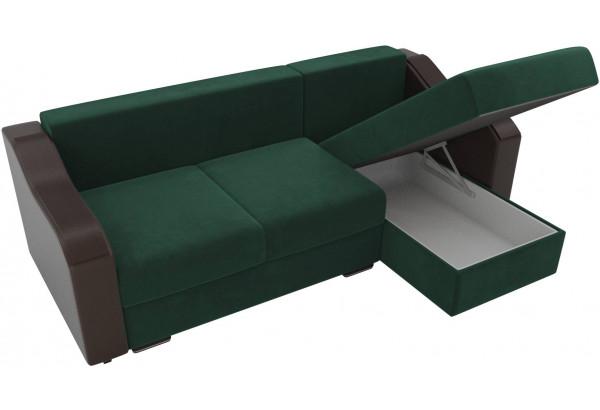 Угловой диван Монако зеленый/коричневый (Велюр/Экокожа) - фото 5