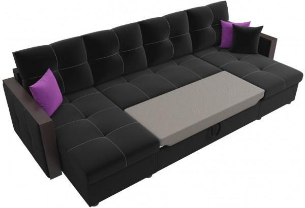П-образный диван Валенсия Черный (Микровельвет) - фото 6