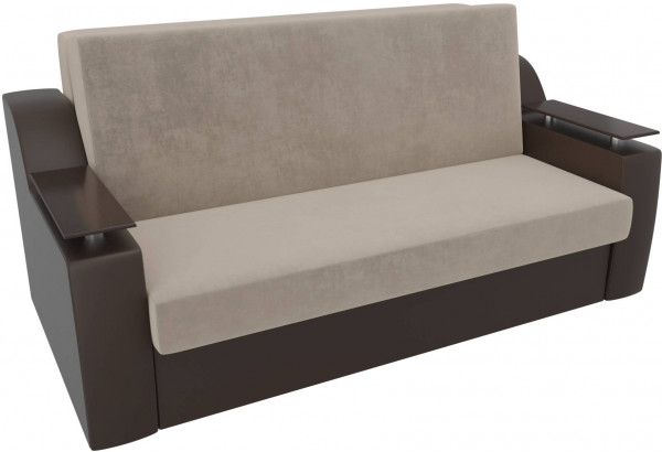 Прямой диван аккордеон Сенатор бежевый/коричневый (Велюр/Экокожа) - фото 4