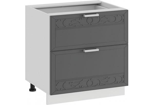 Шкаф напольный с двумя ящиками «Долорес» (Белый/Титан) - фото 1