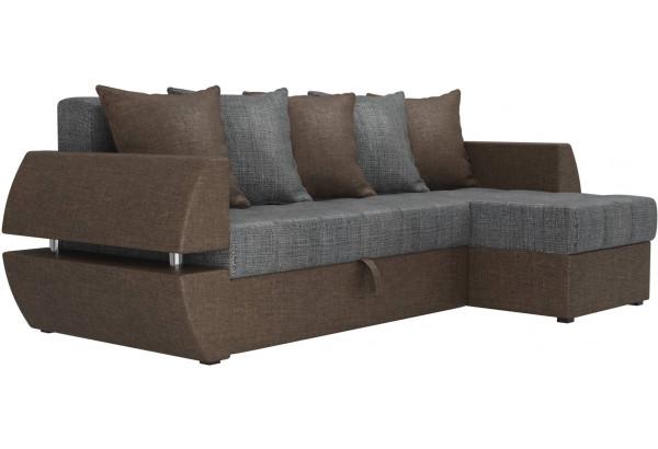 Угловой диван Атлантида У/Т Серый/коричневый (Рогожка) - фото 3
