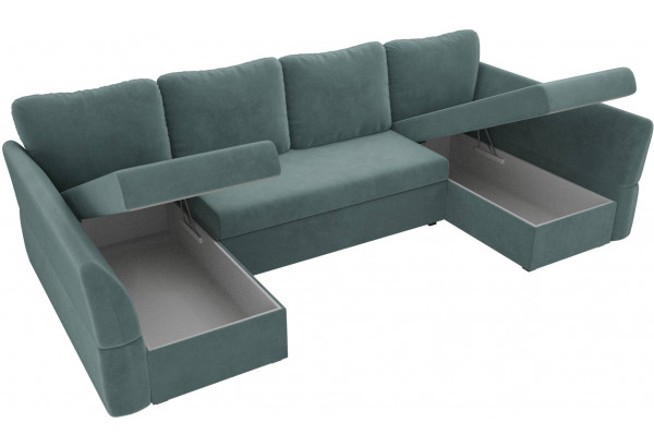 П-образный диван Гесен бирюзовый (Велюр) - фото 5