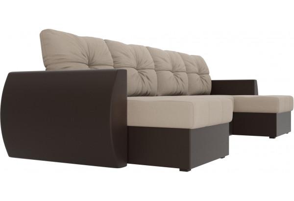 П-образный диван Сатурн бежевый/коричневый (Рогожка/Экокожа) - фото 3
