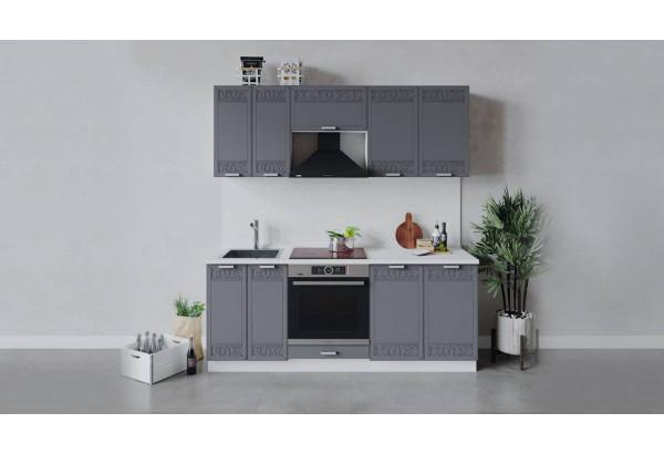Кухонный гарнитур «Долорес» длиной 200 см со шкафом НБ (Белый/Титан) - фото 1