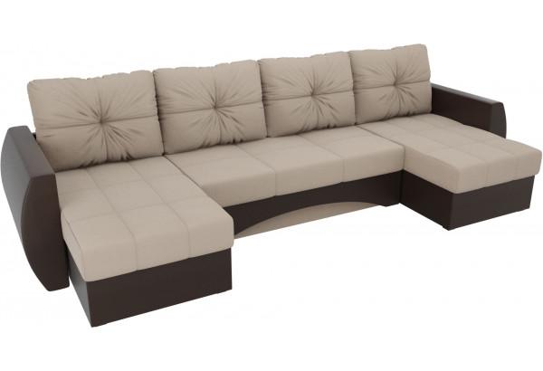 П-образный диван Сатурн бежевый/коричневый (Рогожка/Экокожа) - фото 4