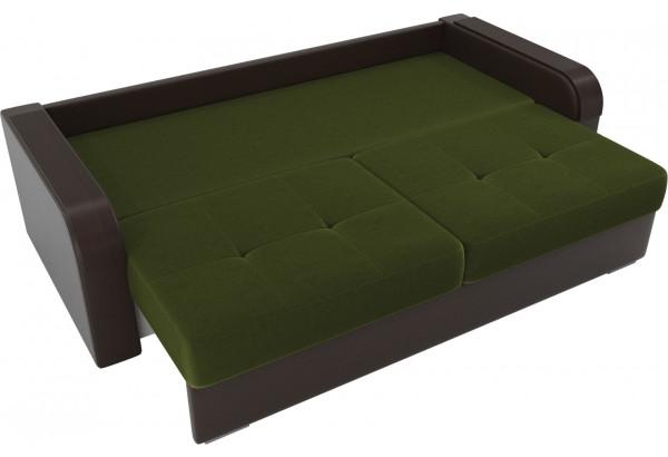Прямой диван Мейсон зеленый/коричневый (Микровельвет/Экокожа/флок на рогожке) - фото 6