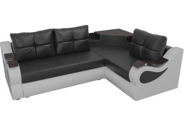 Угловой диван Митчелл Черный/Белый (Экокожа) - фото 4