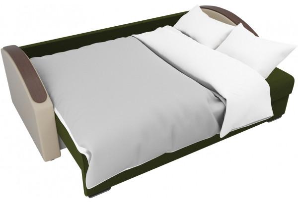 Прямой диван Монако slide Зеленый/Бежевый (Микровельвет/Экокожа/флок на рогожке) - фото 7