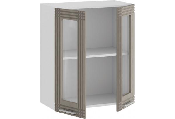 Шкаф навесной c двумя дверями со стеклом «Ольга» (Белый/Кремовый) - фото 2