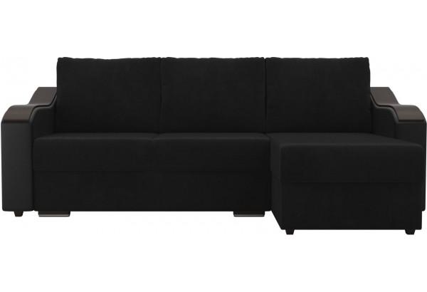 Угловой диван Монако черный/черный (Велюр/Экокожа) - фото 2