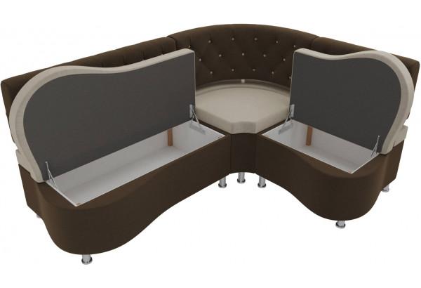Кухонный угловой диван Вегас бежевый/коричневый (Микровельвет) - фото 5