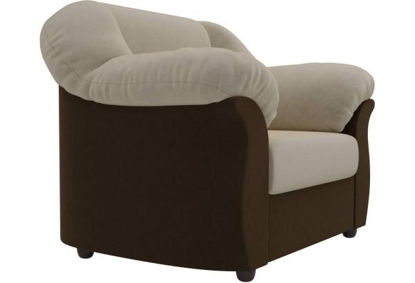 Кресло Карнелла бежевый/коричневый (Микровельвет) - фото 3