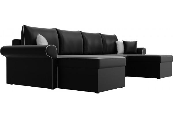 П-образный диван Милфорд Черный (Экокожа) - фото 3