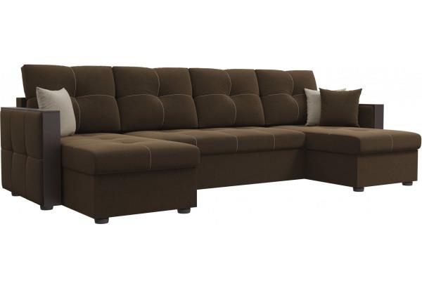 П-образный диван Валенсия Коричневый (Микровельвет) - фото 1