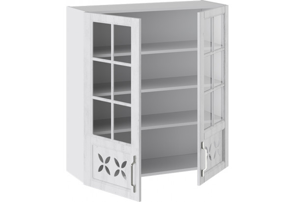 Шкаф навесной cо стеклом и декором (ПРОВАНС (Белый глянец/Санторини светлый)) - фото 2