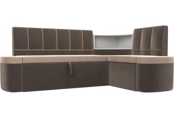 Кухонный угловой диван Тефида бежевый/коричневый (Велюр) - фото 1
