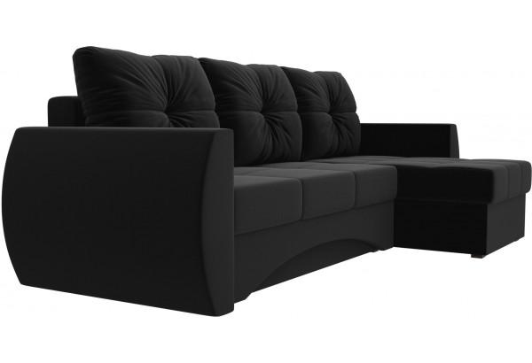 Угловой диван Сатурн Черный (Микровельвет) - фото 3