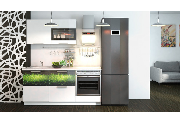 Кухонный гарнитур длиной - 180 см (со шкафом НБ) Фэнтези (Белый универс)/(Грасс) - фото 2