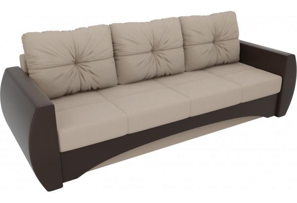 Прямой диван Сатурн бежевый/коричневый (Рогожка/Экокожа) - фото 4