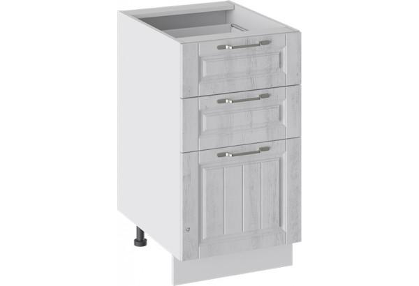 Шкаф напольный с 3-мя ящиками (ПРОВАНС (Белый глянец/Санторини светлый)) - фото 1