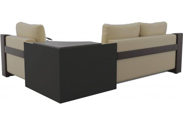 Угловой диван Митчелл бежевый/коричневый (Экокожа) - фото 5