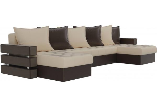 П-образный диван Венеция бежевый/коричневый (Экокожа) - фото 3