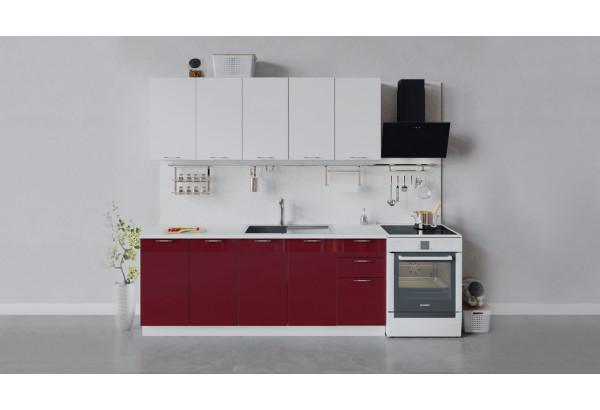 Кухонный гарнитур «Весна» длиной 200 см (Белый/Белый глянец/Бордо глянец) - фото 1